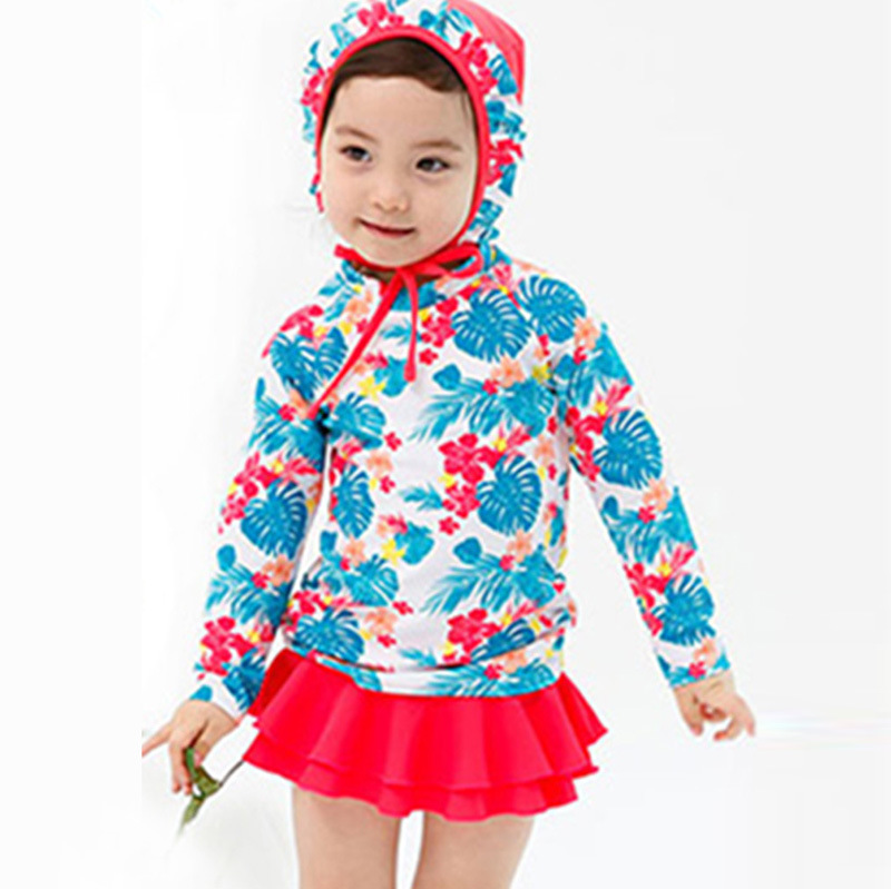 Children Two-piece Swimsuits Girls Swimwear Long Sleeve Sun-resistant Kids Children Skirt Swimwear Hot Springs With Hat