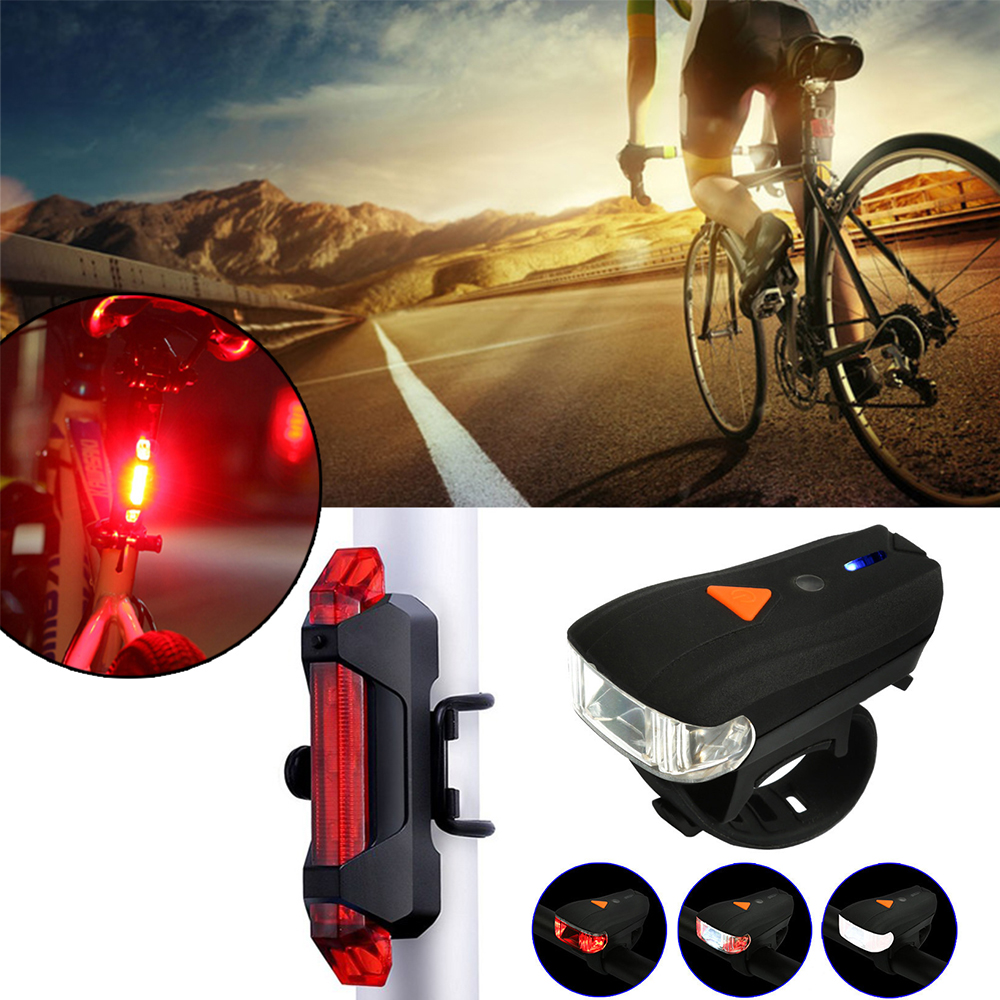 LED USB Rechargeable Head light 2 Colors Bicycle Bike Stop Front Rear Tail Lamp