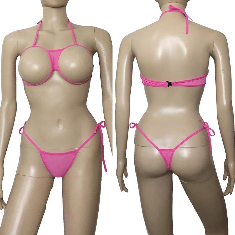 Pink Anime Sexy Women Open Breast Bikini Swimwear Lingerie Set Cupless Bra Top Thong Japanese School Girl Babydoll Underwear
