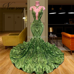 Image 3 - Mermaid Formal Dress Elegant Illusion Green Evening Dresses New 2020 Custom Made Islamic African Pageant Prom Gown Abendkleider