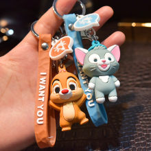 Soft glue cartoon little elephant cat doll key chain squirrel cut face skin rope hanging rope stereo doll bag pendant toy plush(China)