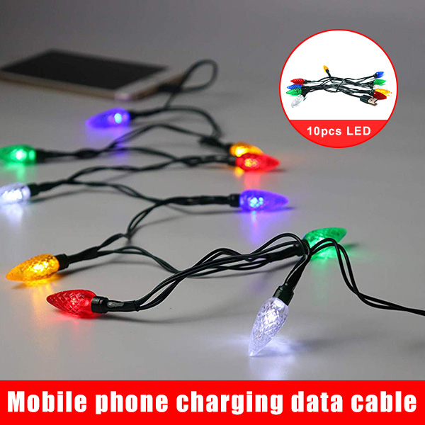 Hot Merry Christmas Light LED USB Cable Charger Lighting Cord LED Android Phone Charging Cable  D6