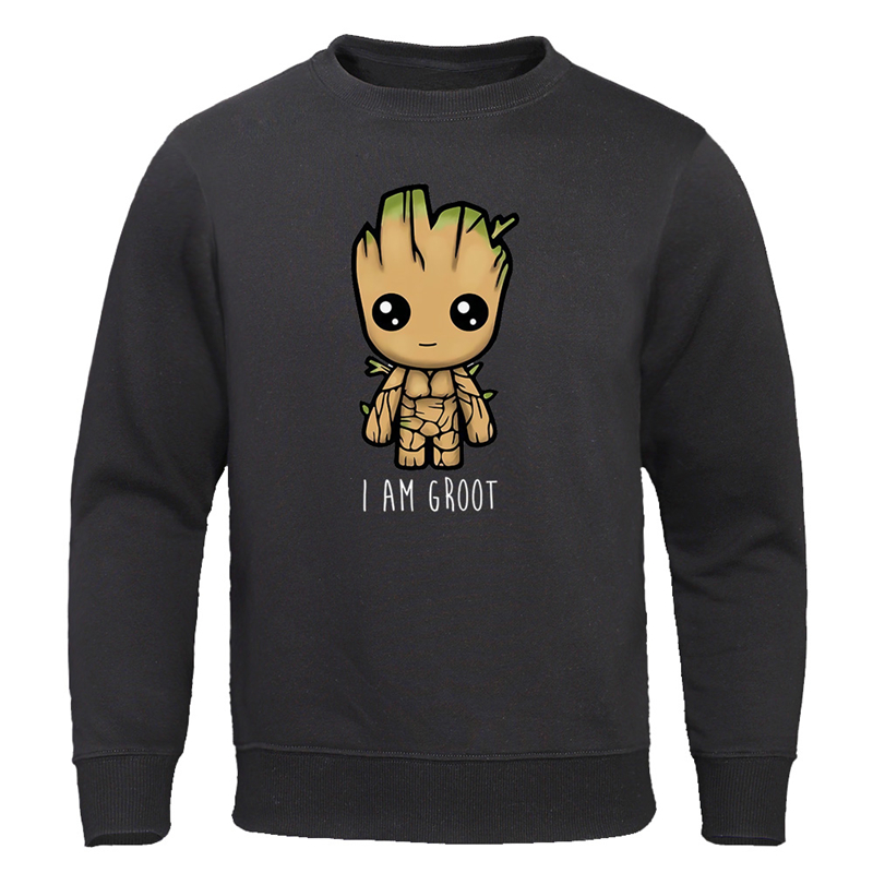 2019 Autumn New I Am Groot Hoodies Men Casual Fashion Sweatshirts Hip Hop Streetwear Pullovers Harajuku Tops Cute Print Groot