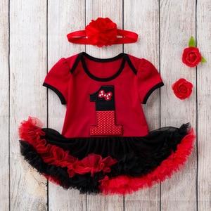 Платье принцессы для маленьких девочек комплект одежды для новорожденных и маленьких девочек, красные платья-пачки с цифрами праздничная о...