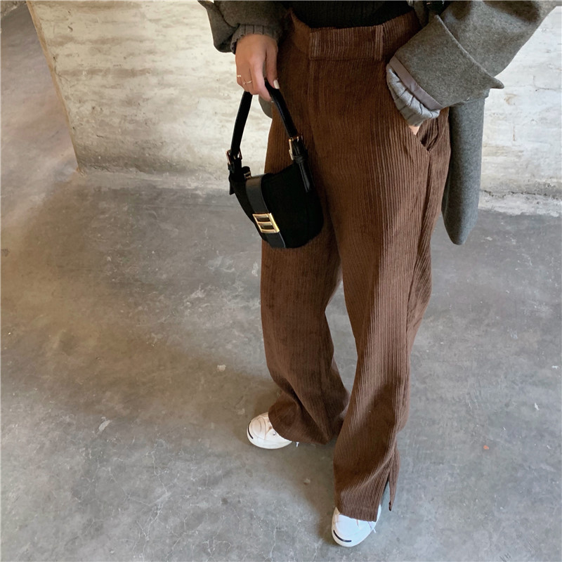 HziriP Autumn Spring 2020 New Women Corduroy Pants OL Fashion High Waist Wide Leg Flare Pants Streetwear Women Trousers Capris