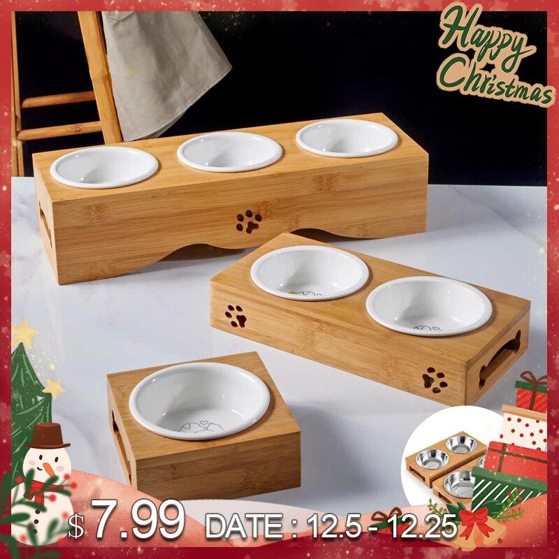 Alimentador de cão de aço inoxidável do suporte de madeira dos desenhos animados do animal de estimação da parte alta cerâmica do alimentador do cão do gato do animal de estimação quente