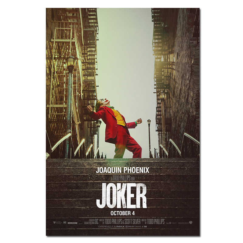 2019 Movie Joker Silk Poster Joker Origin Movie Prints Comics Wall Art Decor Pictures Joaquin Phoenix Film Posters 24x36""