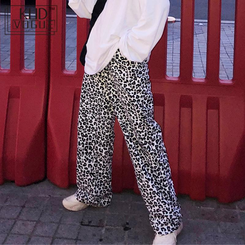 Vintage Leopard Pants Fashion Large Size Cows Straight Pants Korea Ulzzang Harajuku Hip Hop Loose Casual Female Wide Leg Pants