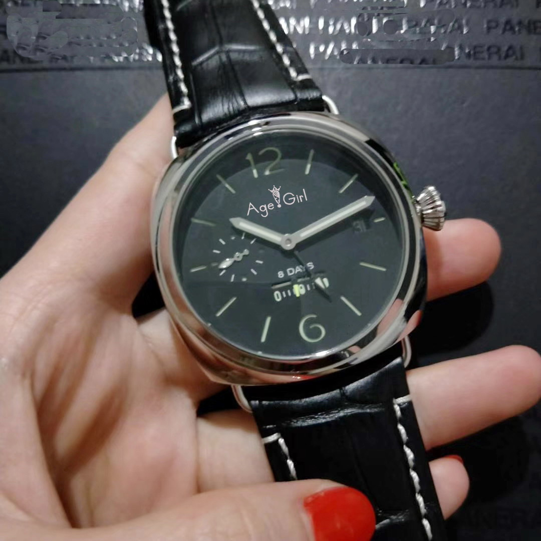 Luxury Brand New Men Automatic Mechanical Sapphire Stainless Steel Black Leather GMT 8 Days Watch Green Luminous AAA+