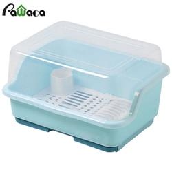 Cozinha armário de plástico com tampa colocar bacia de drenagem rack caixa de armazenamento de talheres prato pauzinhos utensílios de mesa gaiola acabamento rack