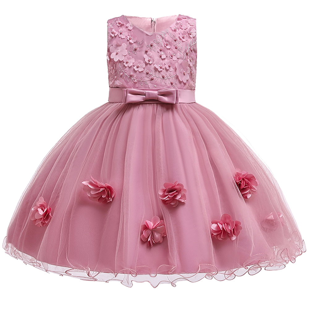 2019 Flower Holy Communion Dresses Kids Party Gown Pink Dress First Communion Dresses For Kids Pageant Ball Gown Vestidos