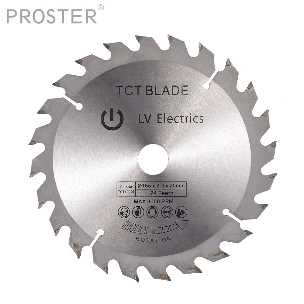 Proster For 24T 165mm 16mm Bore TCT Circular Saw Blade Disc For Dewalt 165 X 20/16 Mm 24 Teeth