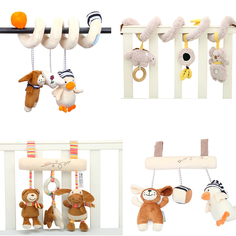 Newborn Baby Toys 0-12 Months Musical Stuffed Stroller Toys Soft Animal Crib Pram Bed Hanging Educational Infant Baby Rattle Toy