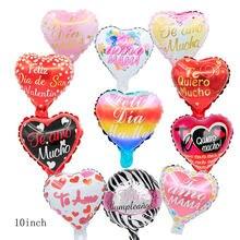 20 pçs 10 polegada feliz cumpleanos espanhol feliz aniversário balões da folha teo amo mama ar globos dia dos namorados fontes de festa ballon