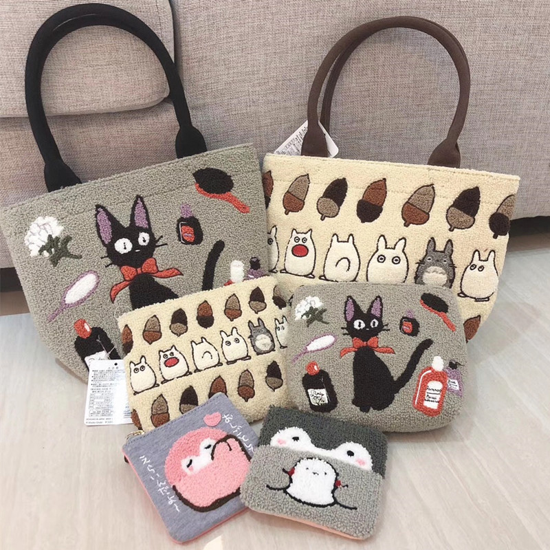 Cute Totoro Coin Purse Anime Kiki's Delivery Service Cartoon Handbag Tote Clutch Fashion Makeup Bag Storage Portable Bags Purse