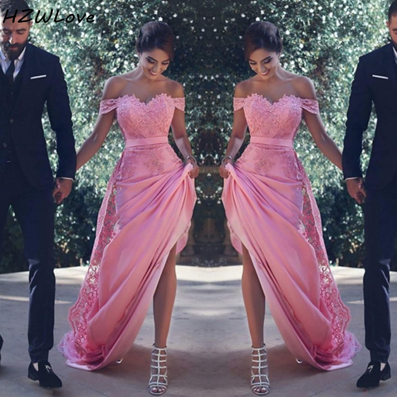 Sexy Off The Shoulder Bridesmaid Dresses Long With Lace Appliques A Line Wedding Guest Dress Pink Maid of Honor Dress Cheap