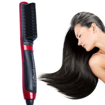 Hair  Straight Electric Hair Straightener Steam Hot Comb Beard Straightener Styler Brush Hair Styling tools For Women