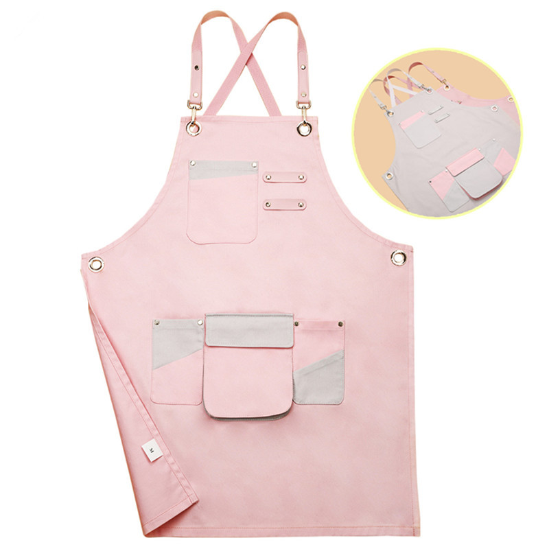 2019 Pink Canvas Apron for women Waitstaff Barista Bartender Baker Bistro Pastry Catering Florist Painter Artist Work Wear logo|Aprons| |  - title=
