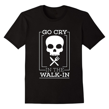 GO CRY IN THE WALK-IN Funny Cook Black T-Shirt Line Skull Cook Shirt Chef Round Neck Graphic T Shirt for Cooking Gift Shirts stripe pattern round neck stitching design t shirt in black