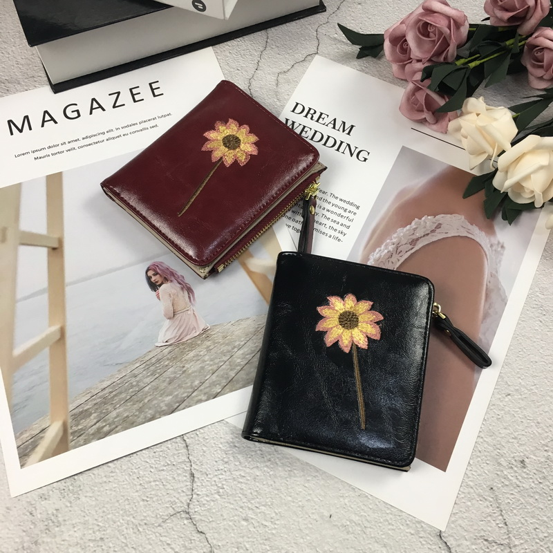 New Wallet Women Short Wallet Leather Female Purses High Quality Coin Purse Card Holder Flower Pattern Women Wallets For Student