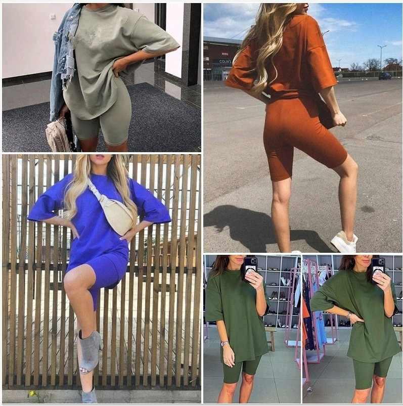 새로운 여성의 두 조각 정장 벨트 솔리드 컬러 홈 느슨한 스포츠 패션 레저 정장 여름 2020 반바지 짧은 소매