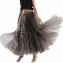 Super Soft Tulle Skirt Hand-made Grey Black Maxi L