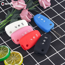 KEYYOU Flip Remote Car Key Case Silicone Cover For Ford Ranger C Max S Max Focus Galaxy Mondeo Transit Fiesta Escape Ecosport