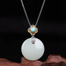 with certificate natural turquoise gold silver seperated auspicious cloud buckle half round Hetian jade pendant