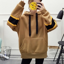 Women Harajuku Hoodies 2019 Autumn Winter Korean Striped Sweatshirt Plus Velvet Thick Hooded Tops Female Hoodie Dark Green