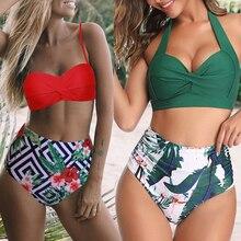Brazilian Bikini Swimsuit HALTER-PATCHWORK Push-Up Plus-Size Women Swimwwear Solid Biquini