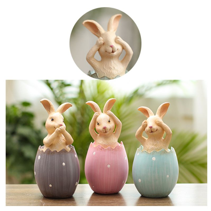 3pcs/lot Easter Rabbit In Eggs No Say No Listen No See Rabbits Easter Decoration For Home Gift For Kids Party Wedding Decoration