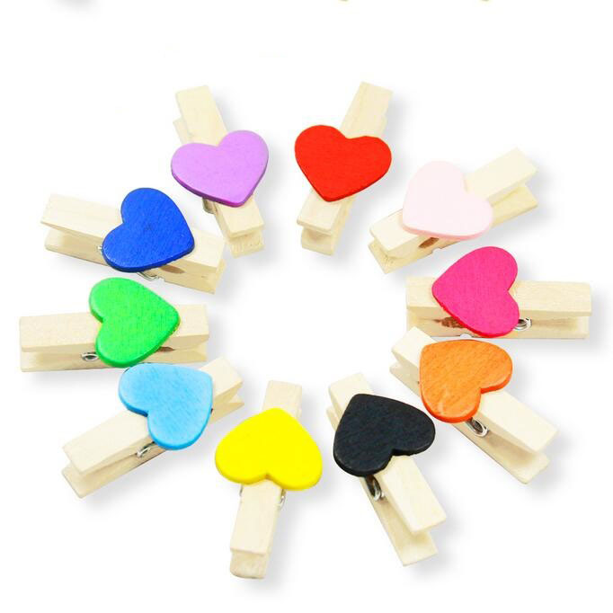 10pcs/lot Colorful Heart Design Wooden Clip Postcard Clips For Room And Weeding Decoration Picture Holder Clip
