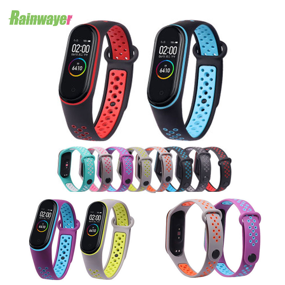 Fashion Watch Wrist For Xiaomi Mi Band 3 4 Strap Xiaomi Miband Replacement Double Color Silicone Bracelet For Mi Band 3 4 Straps