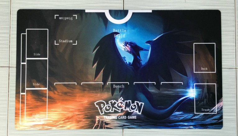 Takara Tomy PTCG Accessories Pokemon Card Game Table Playmat Black White Charizard Toys For Children