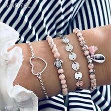 X-ROYAL 4Pcs/set New Shell Charm Beads Chain Bracelets Heart Tassel Turtle Pendant Women Fashion Lovers Gift Sets 2019