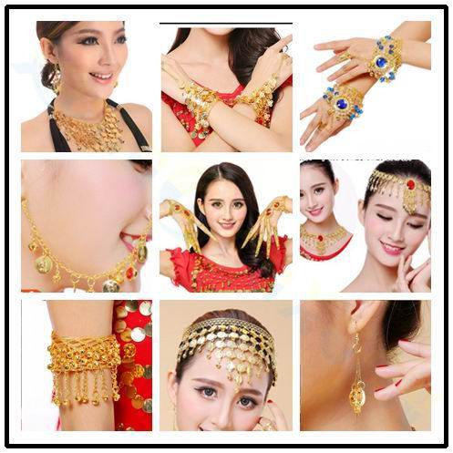 Belly Dance Bracelet Egyptian Dance Costumes Accessories Indian Dance Hand Catenary Belly Dance Jewelry Earring Necklace Props