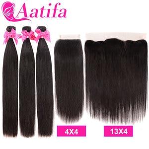 Image 3 - Peruwiańskie proste włosy 3 zestawy z 4*4/13*4 zamknięcie Frontal z wiązkami 100% Remy ludzkie włosy splot wiązki dla czarnych kobiet