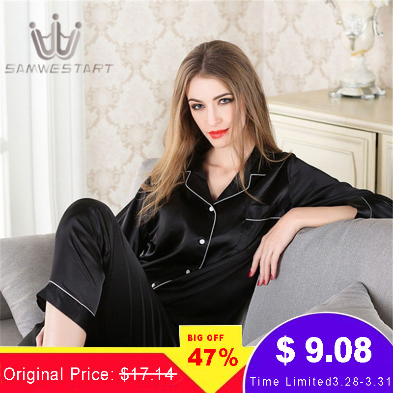 Women Silk Pajama Sets Satin Pyjama Sleepwear Long Sleeve Large Size Fashion Pajamas For Girl Nightwear Suit Home New 2020 PJS