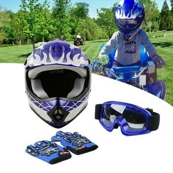 Dot Youth Kids Blue Dirt Bike Helmet Motocross Quards ATV Helmet Goggles+Gloves capacete moto  Boys Gifts full face kask 1