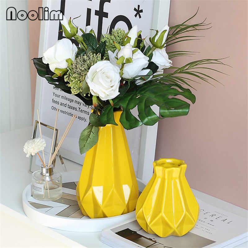 Nordic Giallo di Ceramica Origami Vaso di fiori Soggiorno Decorazione Secchi Vaso di Fiori Creativo Semplice Ufficio Tavolo Verde Piante in Vaso