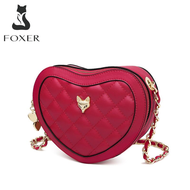 Foxer Split Leather Shoulder Bag Diamond Lattice Crossbody Bag Love Heart Pattern Small Purse Fashion Style New Design Flap Bags