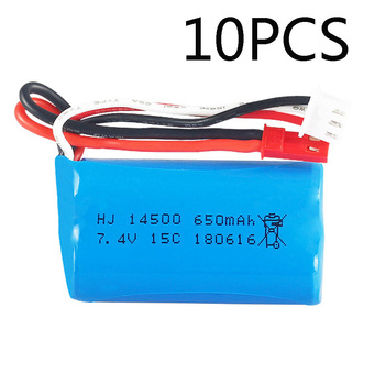 10PCS 7.4V 650mAH 2S 14500 Lipo Battery JST Plug For Syma F1 BR6802 RC helicopter 7014 RC Boat 7.4V 15C toys battery accessories