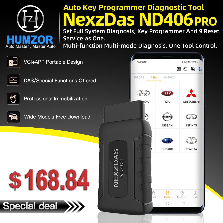 HUMZOR NEXZDAS ND406 OBD Авто ключ программист иммобилайзер универсальный автомобильный диагностический инструмент OBD2 автомобильный код считыватель сканер