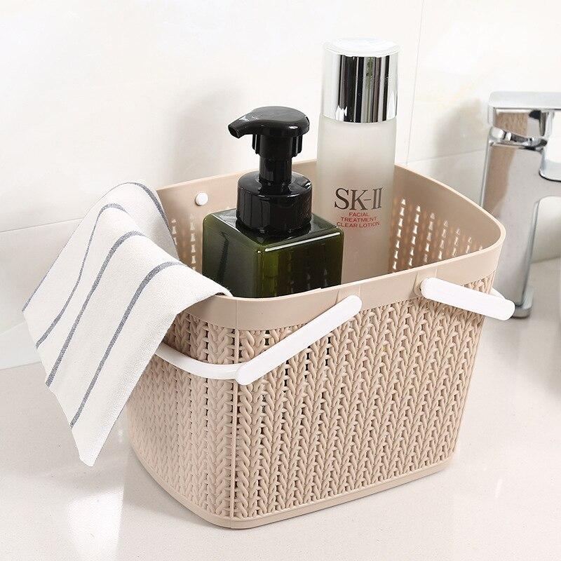 Plastic Rattan Storage Basket Desktop Rectangular Snacks Debris Storage Basket Bathroom Hand Washed Storage Basket
