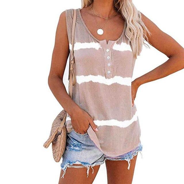 Sleeveless Tie-dye Cotton T Shirt 3