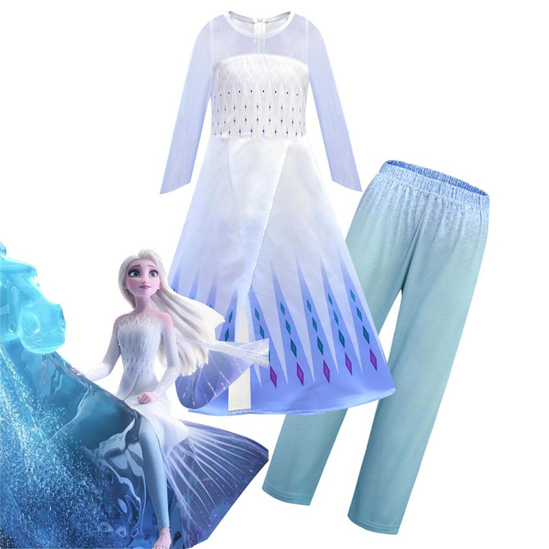 2019 New Anime Frozen 2 Cosplay Elsa Queen Female Child Dress Gauze Cloak Pants Outfit Halloween Carnival Christmas Clothing Set