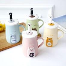 Креативная Милая керамическая чашка для кофе с крышкой и ложкой