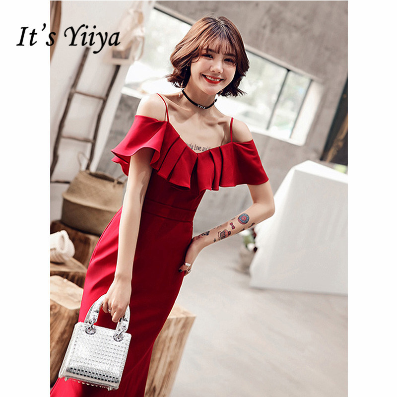 It's Yiiya Evening Dress 2019 Ruffles Spaghetti Strap Trumpet Dresses Elegant Boat Neck Party Long Dresses Robe De Soiree E1298