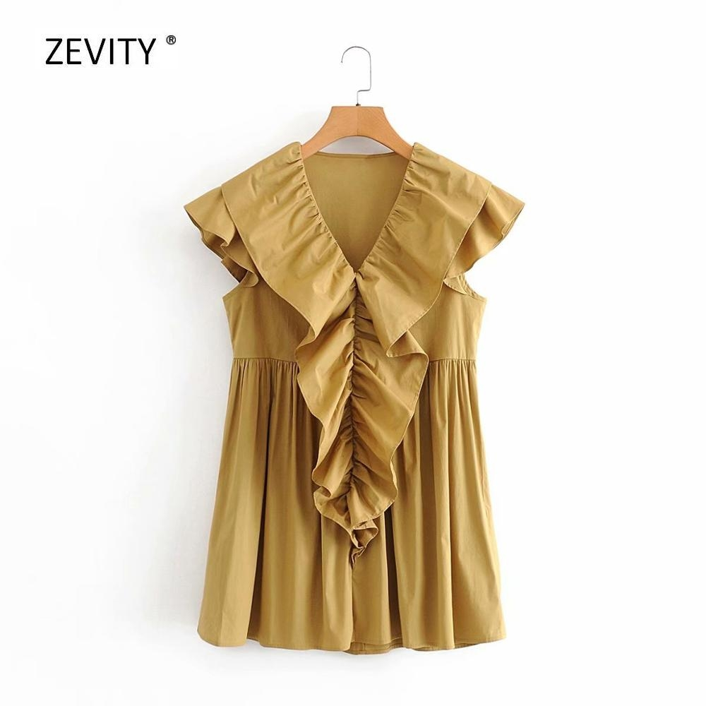 New 2020 women V Neck Cascading ruffle Solid Poplin dress female Butterfly sleeve casual pleats vestido chic mini dresses DS3915
