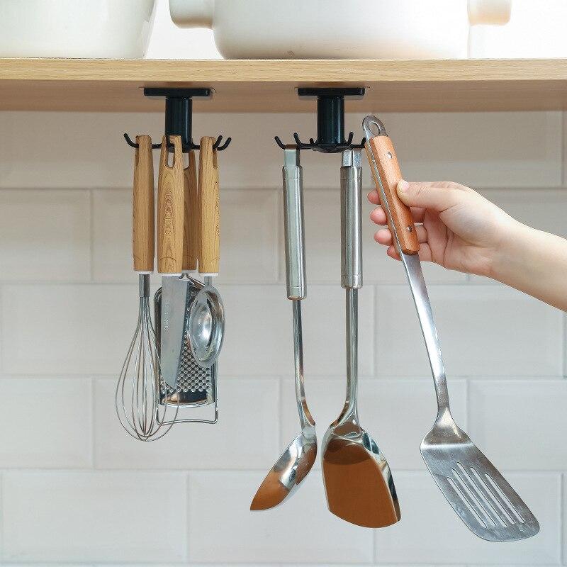 For Kitchen Storage and Organizer Kitchen Supplies Organizers Rotatable Rack Accessories Cabinet Organizer Hook Up Storage Rack